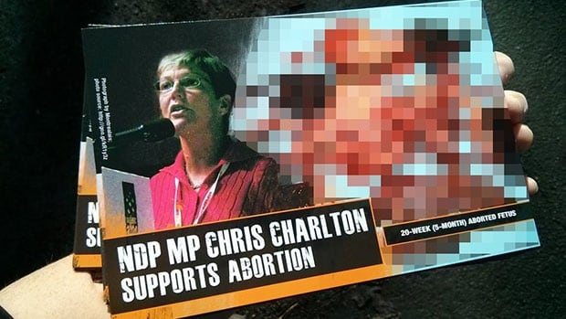 Charlton is the first NDP MP to be targeted by the Canadian Centre for Bio-Ethical Reform.