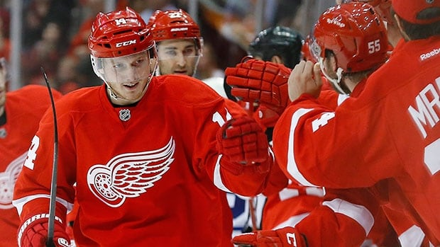Detroit Red Wings forward Gustav Nyquist, left, has scored 23 goals in 28 games after having just 63 NHL games of experience.