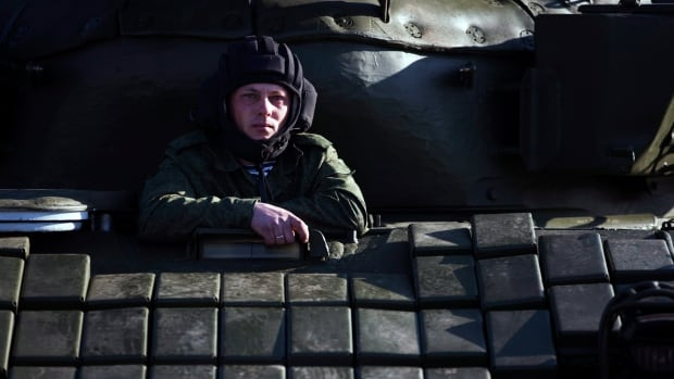 A Russian solder sits in a tank T-72B at a railway station not far from Simferopol, Crimea. Russia annexed the Black Sea peninsula in March after Crimea residents voted overwhelmingly to seek to join Russia.
