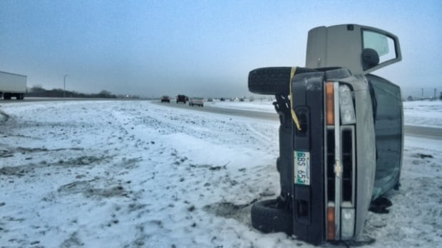 RCMP are advising drivers to slow down on the highways Friday morning, after a mult-vehicle accident left this vehicle and others in the ditch on Highway 221.