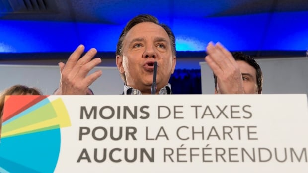 Coalition Avenir Quebec Leader François Legault speaks at a news conference Friday in Victoriaville. Quebecers are going to the polls on Monday.
