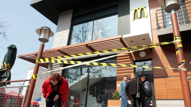 U.S. fast-food franchise heavyweight McDonald's said Friday it has closed its three Crimea locations. Russian politicians close to President Vladimir Putin have called for boycotts against multiple iconic Western food brands in recent weeks.
