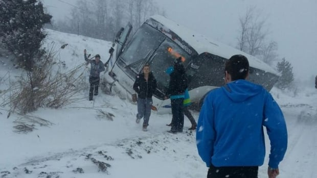 Driver Peter Knapp drove the bus into a ditch near Port Hope to avoid a collision after two transport trucks crashed up ahead.