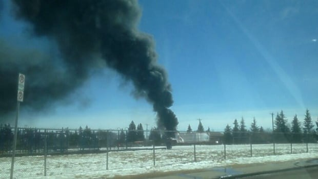 A fire broke out in a garage near the Rosscarrock Community Hall in southwest Calgary Friday afternoon.
