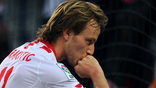 Sevilla midfielder Ivan Rakitic celebrates after scoring during the Spanish league against RCD Espanyol Sunday.