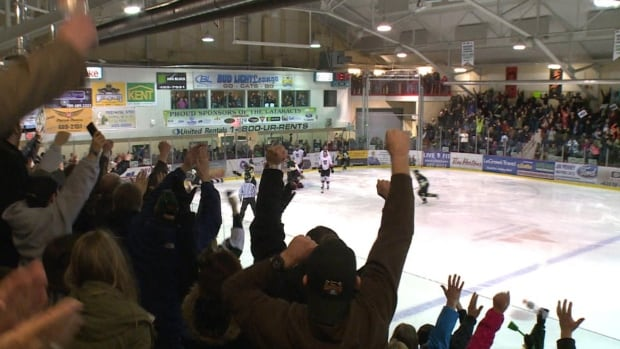 Fans of the Grand Falls-Windsor Cataracts exult as Rob Hennigar scores the winning goal to take the Herder trophy on Saturday night.
