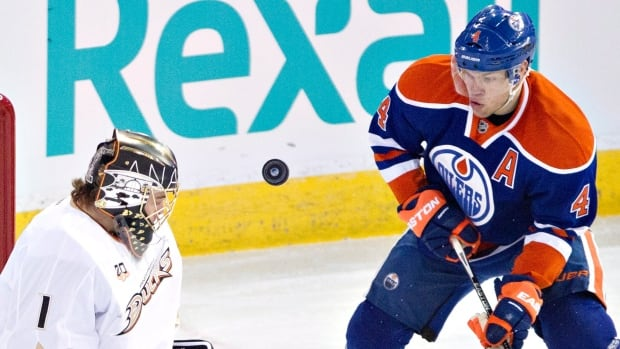 Tayor Hall, seen during Sunday's win over Anaheim, had two goals and seven assists last week for Edmonton.
