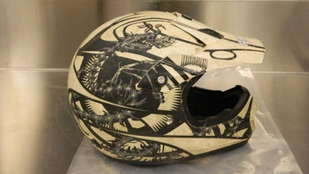 Whitehorse RCMP say one of the suspects in the robbery of the Casa Loma bar Saturday night was wearing this ATV helmet.