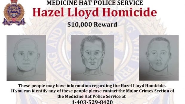 Medicine Hat police have released sketches of three men they say may have information regarding the death of Hazel Lloyd.