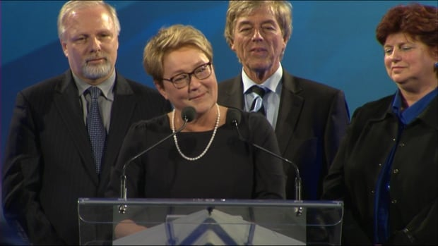 PQ leader Pauline Marois is emotional during her speech on election night after being voted out of power.