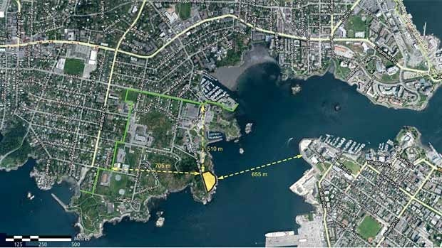 The CRD wants to build the wastewater treatement plant at McLoughlin Point, at the mouth of Victoria Harbour.