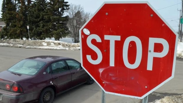 An oversized stop sign at the intersection of Dawson and Pine streets. The city has about 20 oversized signs, or about one per cent of the total number of stop signs in Thunder Bay.