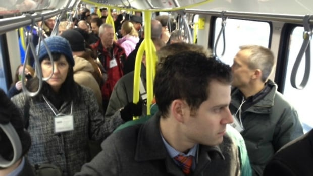 A pregnant Calgary woman says she has been forced to stand on the LRT when fellow riders fail to offer her a seat on a packed C-Train, like the one pictured here.