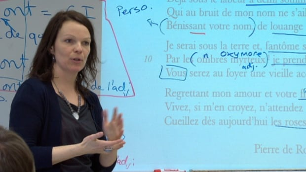 Malou Dery teaches a class in French literature at École du Carrefour in Dartmouth.