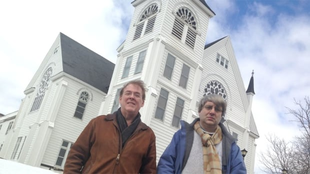 John Duchemin and Demian Hammock, members of Sackville SPLASH, hope to keep the United Church in town.