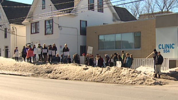 Abortion rights supportors rallied in front of the Morgentaler clinic in Fredericton In April.