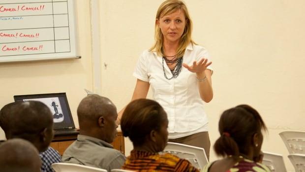 Three Hills resident and Samaritan's Purse staff member Keren Massey teaching Ebola awareness to Liberian residents.