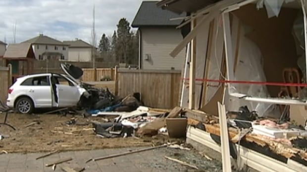 This car veered off a road and drove through three fences before taking off the back of a house in Spruce Grove.