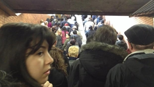 The subway was shut down between Bloor and Lawrence stations on the TTC's Line 1 on Friday. This photo shows some of the crowding at Lawrence station as passengers were direct on to shuttle buses.