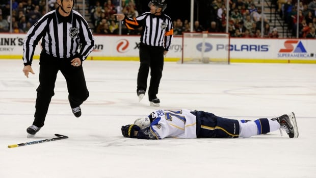 St. Louis Blues right wing T.J. Oshie lies on the ice after being injured in the second period on Thursda.