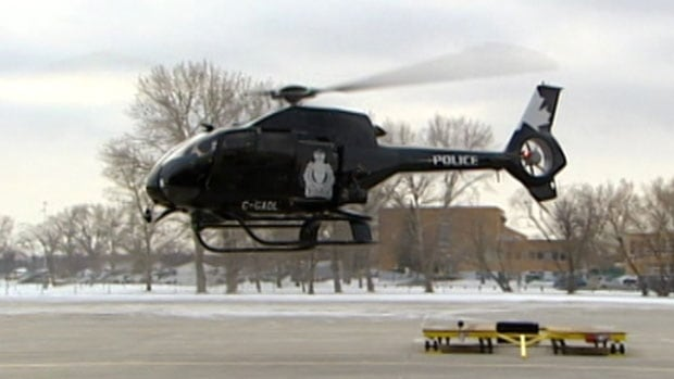 The crew of Air-1, Winnipeg's police helicopter, were blinded by a green laser pointer while responding to a call at the Red River Ex grounds early Sunday morning. An 18-year-old man faces charges.