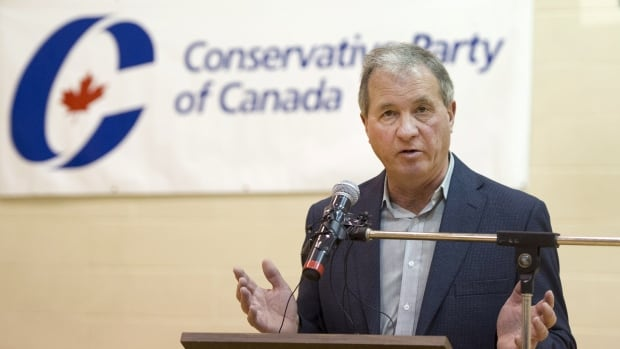 Ron Liepert speaks after defeating Rob Anders during the Calgary Signal Hill federal Conservative nomination, in Calgary on Saturday.