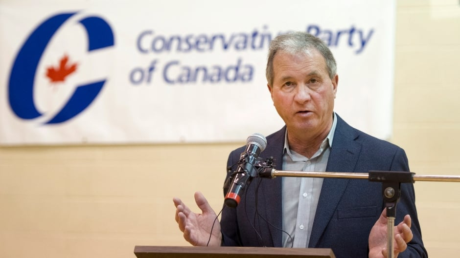 Ron Liepert speaks after defeating Rob Anders during the Calgary Signal Hill federal Conservative nomination, in Calgary on Saturday, April 12, 2014.