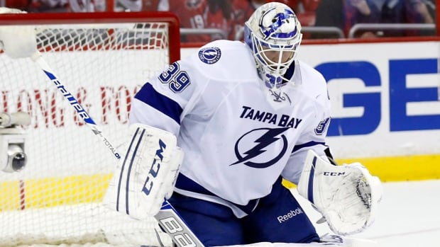 Tampa Bay Lightning goalie Anders Lindback is shown during Sunday's win over the Washington Capitals.
