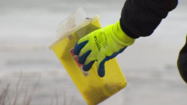 A man walking his dog on the Mundy Pond trail made a disturbing discovery when he spotted used syringes lining the shore.