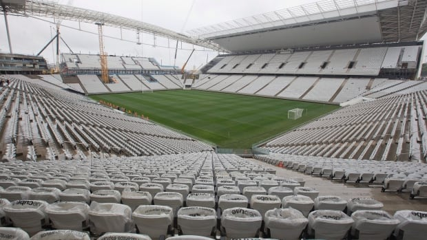 A general view of the still unfinished Itaquerao stadium in Sao Paulo, Brazil, on Tuesday. The stadium that will host the World Cup opener match between Brazil and Croatia on June 12, will a capacity of about 70,000.