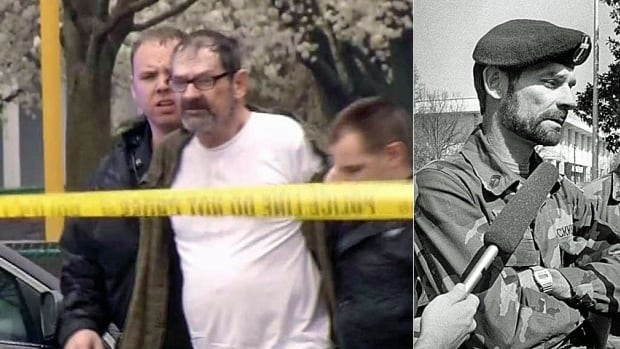 White supremacist Frazier Glen Miller, then and now. Left, being arrested in Kansas City on Sunday for the killing of three people outside Jewish institutions. Right, in this 1985 photo, holding a press conference in Raleigh, N.C., as one of the leaders of the Carolina Knights of the Ku Klux Klan.