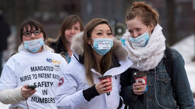 Striking nurses protest outside the Halifax Infirmary in Halifax on April 3, 2014.