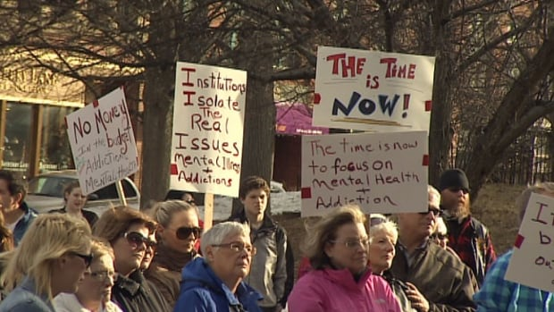 The protest demanding better mental health and addiction services drew about 100 people.