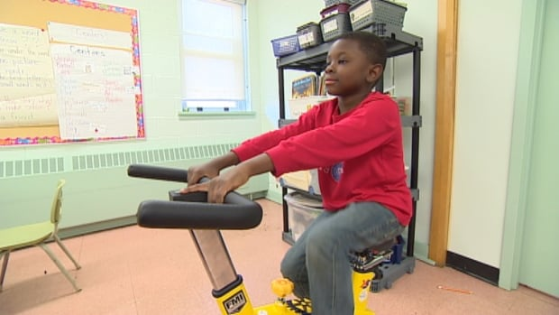 Students in grades one to three at Harbour View Elementary School have a new piece of gear in the classroom. It's a stationary bike that lets students exercise and seems to help with concentration