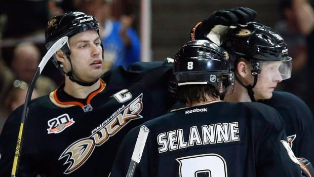 From left, forwards Ryan Getzlaf, Corey Perry and Teemu Selanne have won just one playoff round together since the Ducks captured their only Stanley Cup title in 2007. Anaheim opens the 2014 post-season Wednesday night against the visiting Dallas Stars.