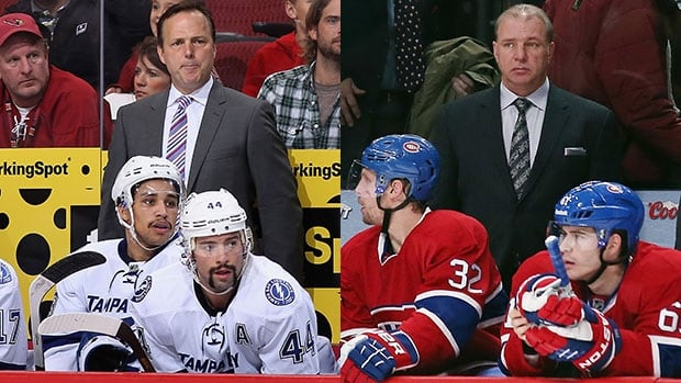Coaches Jon Cooper, left, and Montreal's Michel Therrien will match wits in the opening round of the NHL playoffs.