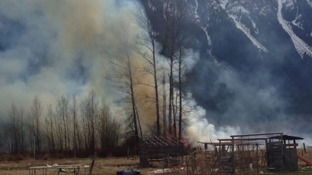 A grass fire burns out of control on the Lil'wat First Nation in B.C.