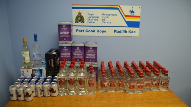 Fort Good Hope RCMP seized 74 – 375 ml bottles of Smirnoff Vodka, 9 - 1.14 litre bottles of Smirnoff Vodka, 3 – 750 ml bottles of Smirnoff Vodka, 1 - 750 ml bottle of wine, 28 – 355 ml vodka coolers and 75 – 355 cans of beer in one night on the winter road from Norman Wells.