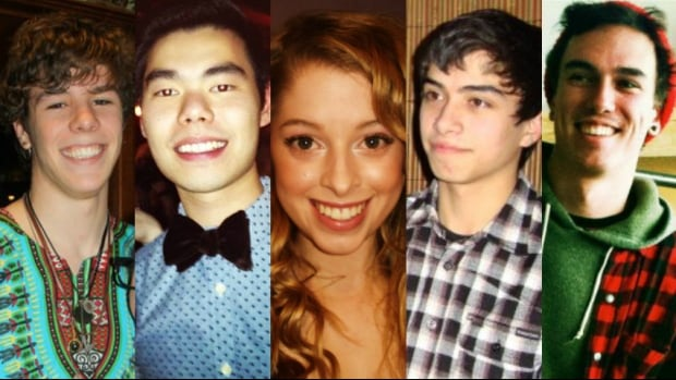 Zackariah Rathwell (from left), Lawrence Hong, Kaitlin Perras, Jordan Segura and Joshua Hunter were stabbed last week. The deaths, described by police Chief Rick Hanson as 'the worst mass murder in Calgary's history,' have shocked and saddened many Calgarians.