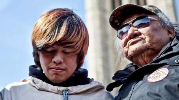 David Kawapit (left) was the young Cree man who instigated the monumental journey from Whapmagoostui, in northern Quebe, to Ottawa. Kawapit is pictured here, with an elder, on the day the group arrived in the nation's capital.