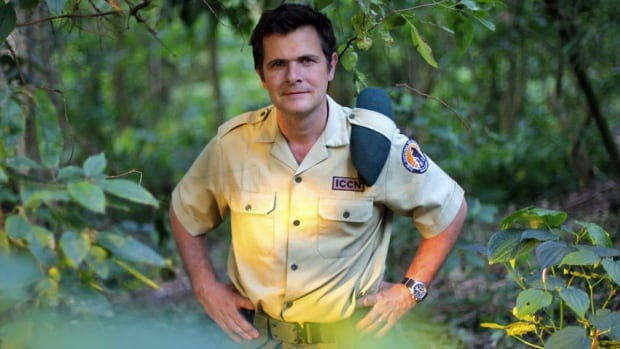 A 2012 file photo shows Emmanuel de Merode, Virunga National Park director and chief warden, posing at the park headquarters in eastern Congo. Park officials say the Belgian director of Africa's oldest national park, a reserve in conflict-ridden eastern Congo, has been shot and seriously wounded.