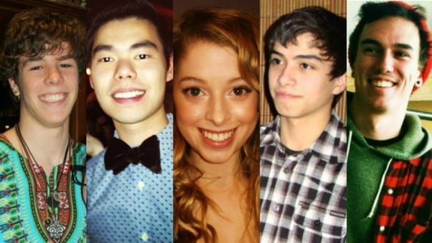 From left: Zackariah Rathwell, Lawrence Hong, Kaitlin Perras, Jordan Segura and Joshua Hunter were stabbed to death April 15 while celebrating the end of post-secondary classes. Their lives are being celebrated at an event at the UofC on Wednesday.
