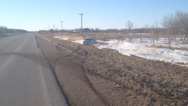 Adriana O'Neil said a car towing a trailer lead police on a high-speed chase through this area. This cruiser car spun out into the ditch, she said.