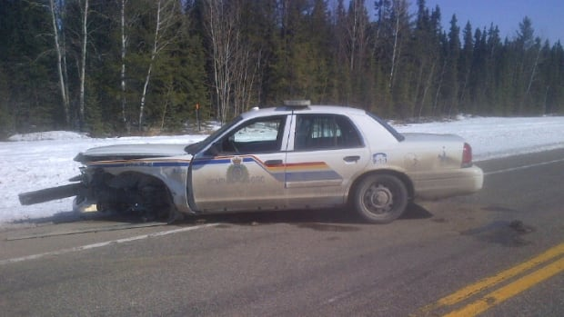 An unoccupied RCMP patrol cruiser was severely damaged when a suspect crashed through a road block on Highway 2, south of La Ronge.