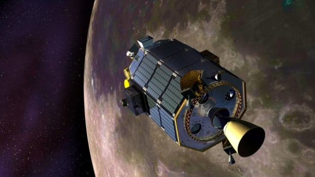 During its mission, LADEE , shown in this artist's conception, identified various components of the thin lunar atmosphere and studied the dusty veil surrounding the moon, created by all the surface particles kicked up by impacting micrometeorites.