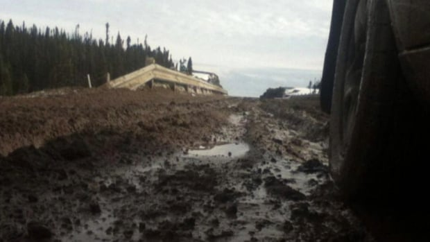 The spring thaw has created a mess of potholes and mud on the Trans-Labrador Highway south of Happy Valley-Goose Bay.