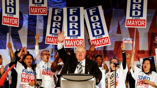 Toronto Mayor Rob Ford speaks at his campaign launch party in Toronto on April 17. Municipal elections are being held in Ontario on Oct. 27.