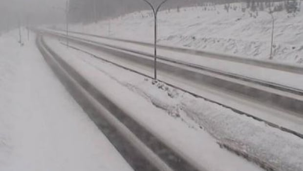 There was heavy snow Friday morning on the Coquihalla Summit.