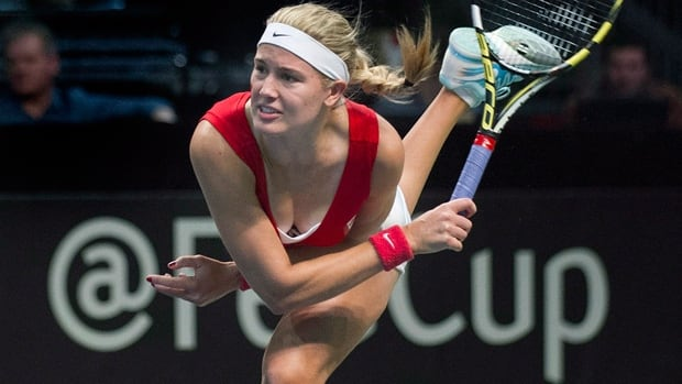 Canada's Eugenie Bouchard serves in a 6-0, 6-3 Fed Cup victory over Serbia in a World Group II tie at Montreal on Feb. 9.