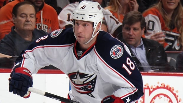 R.J. Umberger (18) compiled 18 goals and 16 assists for 34 points in 74 games for the Blue Jackets during the regular season.